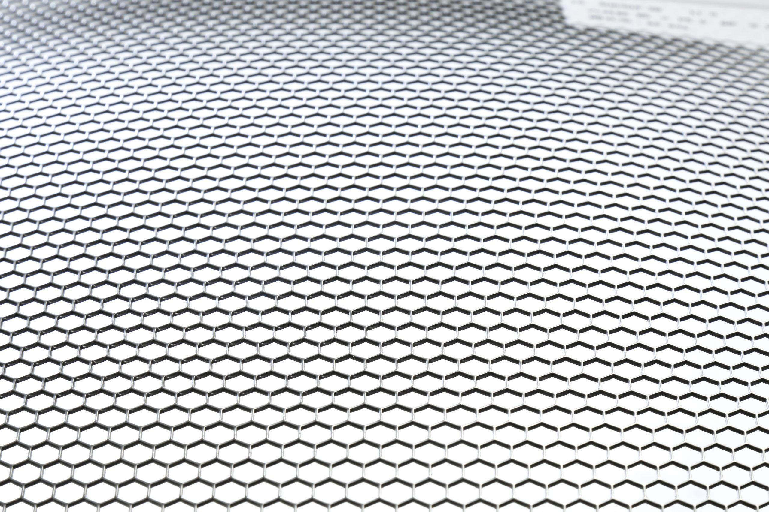 SUS 304-2B t1.0 六角形 W5×P5.5 60°チドリ 開口率:82.6%